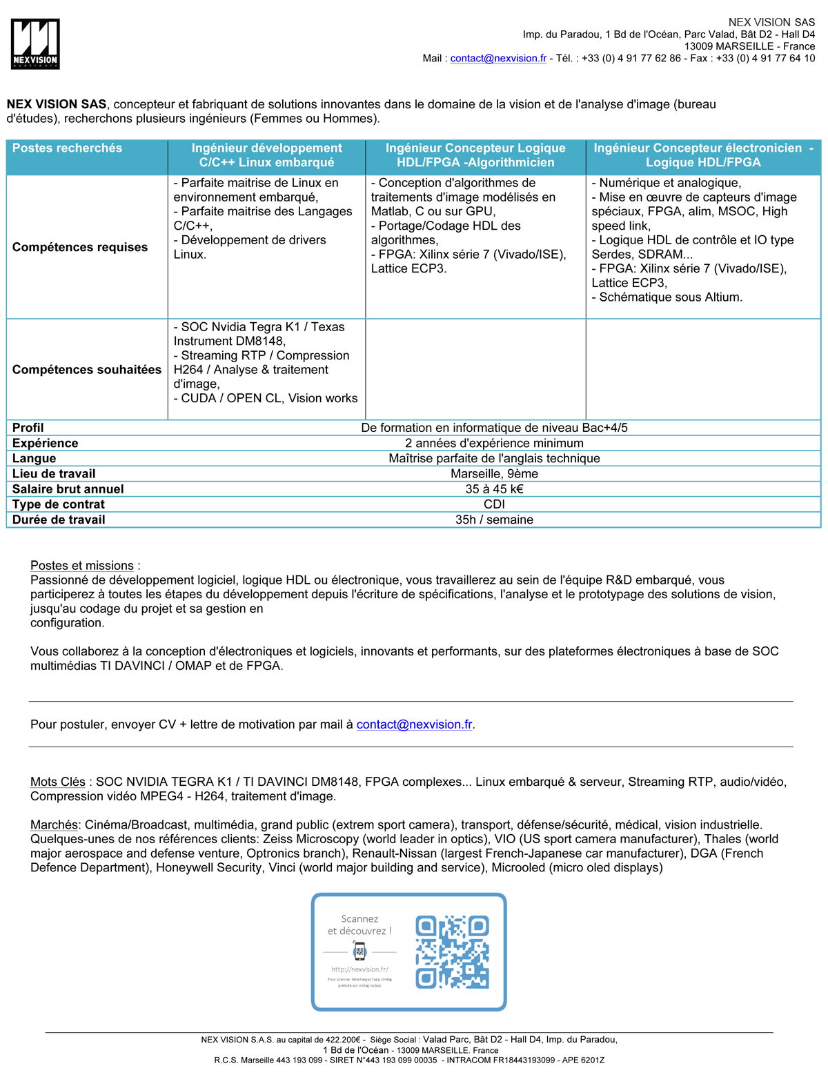 Offres emploi postes ingénieurs oct 2014
