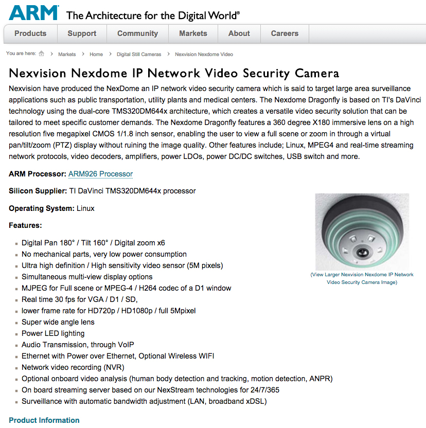 Nexvision_Nexdome_IP_network_video_security_camera_arm