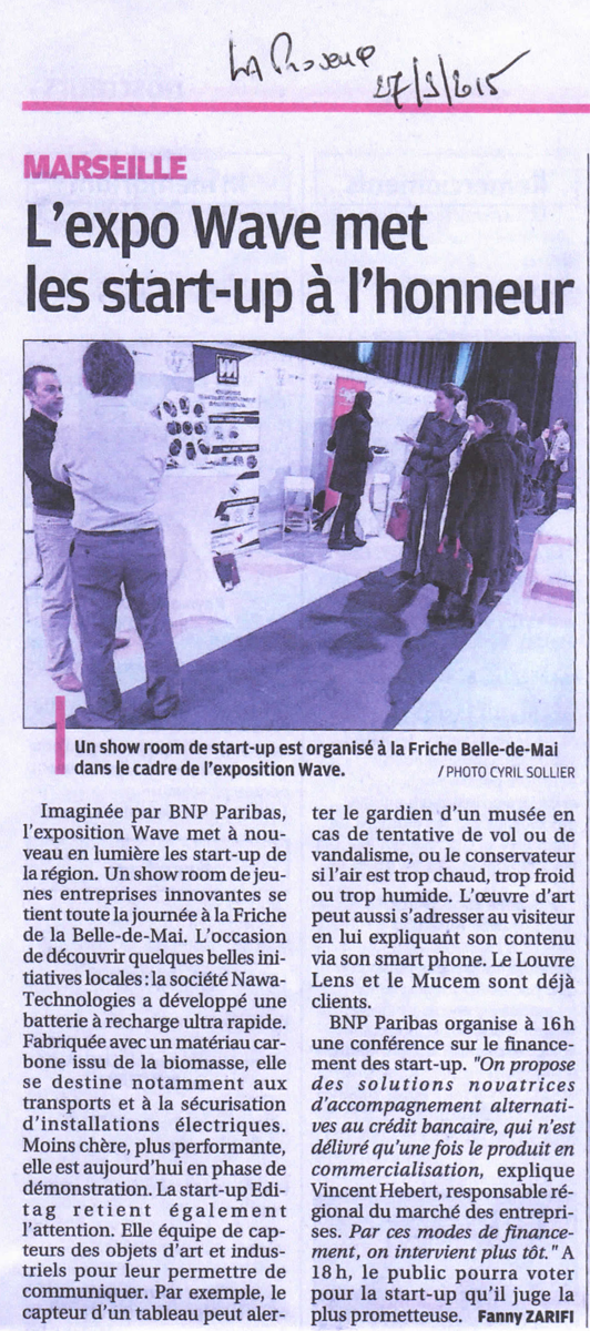 Article La Provence Expo Wave Marseille 2015 start up innovation